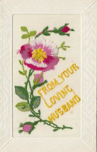 EMBROIDERED, 1900-10s; From your Loving Husband, purple pansy