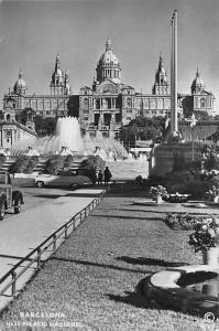 Spain Barcelona - Palacio Nacional, auto cars voitures, fountain