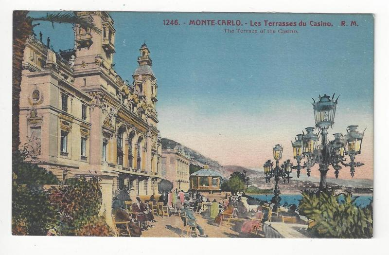 Vintage Monte Carlo Picture Postcard - The Terrace Of The Casino (AM75)