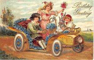 Riding in Automobile Birthday Greetings  Gold Gilded Embossed 1907 Postcard