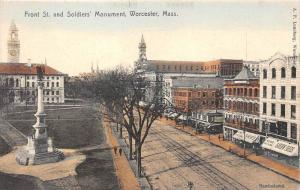 25633 MA, Worcester, 1915, Front Street and Soldiers' Monument