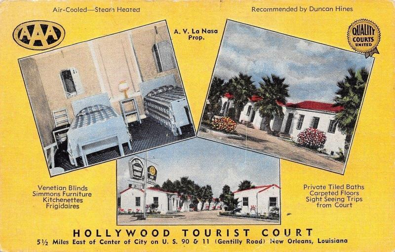 New Orleans~Hollywood Tourist Court~Inside Out~Twin Beds~US 90 Roadside~Linen PC