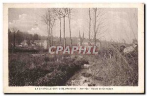 Old Postcard The chapel on turns round Arrival route Domjean