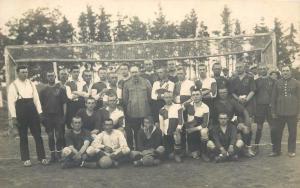 Military football team Transylvania inter-war real photo postcard