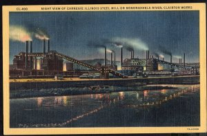 IL CLAIRTON WORKS Night View of Carnegie Illinois Steel Mills - pm1957 - LINEN
