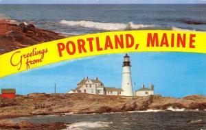 Portland Maine~Banner Greetings~Headlight Lighthouse~Surf and Rocks~1950s PC
