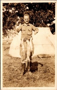 Real Photo Postcard Man Holding Fishing Catch Tent Camping~138527