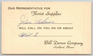 Rockford IL Representative Jim Adams For Bill Doran Florist Company 1968 Postal