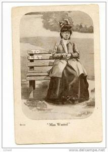 Comic - Lady on park bench - Man Wanted , 00-10s