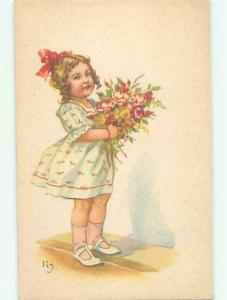 Unused Pre-Linen foreign signed CUTE FRENCH GIRL HOLDS FLOWER BOUQUET k6188