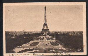 B & W PC Eiffel Tower, Paris, France used to Canada 1928