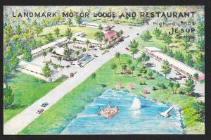 Landmark Motor Lodge & Restaurant Jesup Georgia Unused c1965