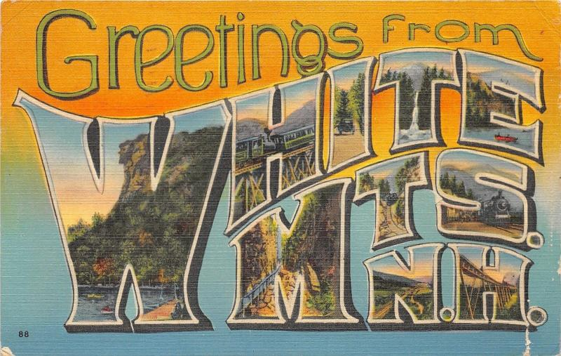 White Mountains New Hampshire Large Letter Linen Postcard~Waterfall-Locomotives