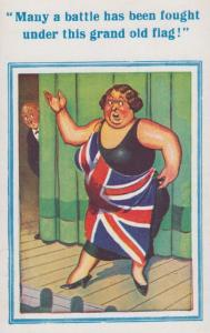 British Union Bulldog Jack Flag Dress Lady WW1 Victory Comic Postcard