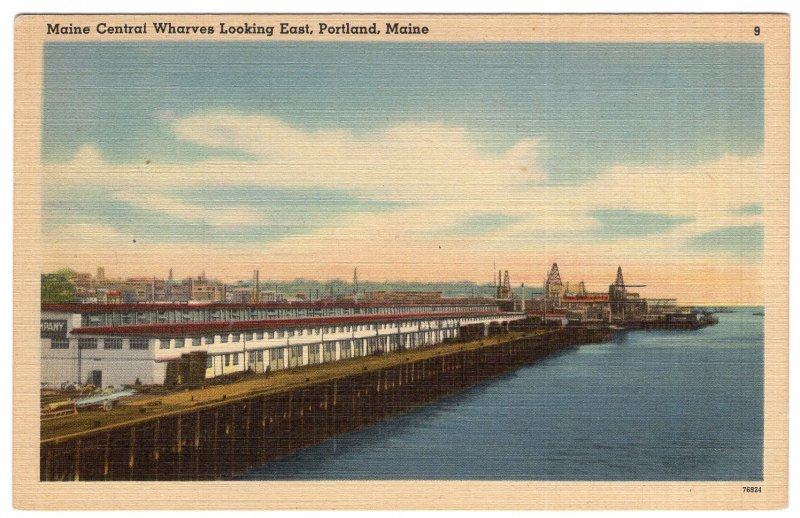 Portland, Maine, Maine Central Wharves Looking East