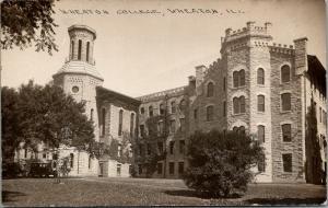 Wheaton Illinois~Wheaton College Campus~Castellated Tower~Vintage Cars~RPPC