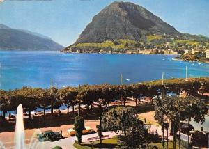 Switzerland Lugano Monte San Salvatore Brunnen Auto Cars Fountain Lake