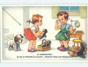 Pre-Chrome foreign DOG WATCHES CUTE GIRL VISIT COBBLER BOY TO REPAIR SHOE J5457