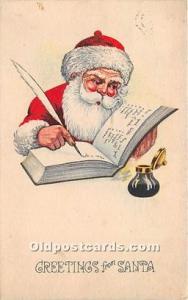 Santa Claus Postcard Old Vintage Christmas Post Card Postal Used Unknown