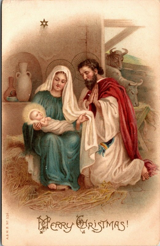 Merry Christmas - RELIGIOUS - CHURCH MARY JESUS - POSTCARD PC UNPOSTED