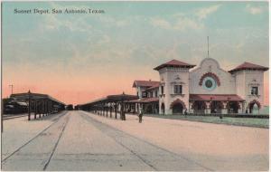 Texas Tx Postcard c1910 SAN ANTONIO Sunset Railroad DEPOT Station
