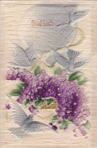 Good Luck Doves Balloon & Violets Embossed