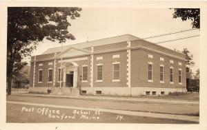 F21/ Sanford Maine RPPC Postcard c1920s Post Office School St