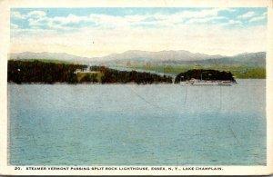 New York Essex Lake Champlain Steamer Vermont Passing Split Rock Lighthouse 1922