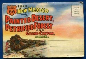 Route 66 Painted Desert New Mexico nm Grand Canyon Arizona az postcard folder