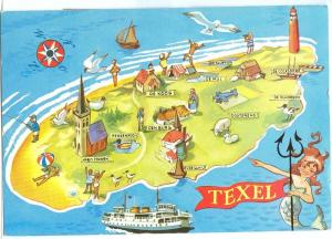 Netherlands, Texel, Cartoon Map, 1970s used Postcard