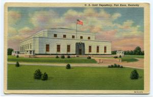 Fort Knox US Gold Depository Kentucky 1954 postcard