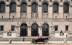Boston Massachusetts~Public Library Close Up Entrance~Vintage Car~1908 Postcard