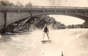 F52/ Noel Missouri RPPC Postcard c1940s Water Skiing Surf Board