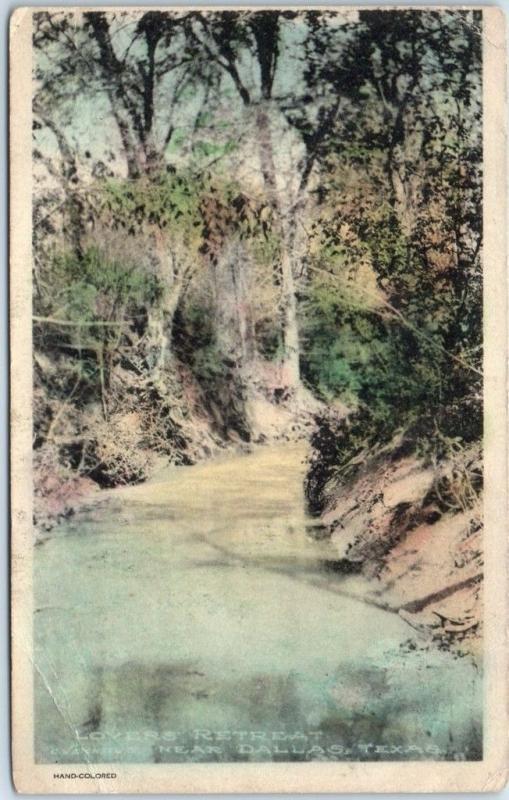 Dallas Texas Postcard LOVERS' RETREAT Stream Scene Hand-Colored Albertype 1908