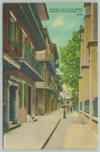 New Orleans Louisiana~French Quarter Pirates' Alley~1940s Linen Postcard