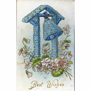 G.A. 'Novelty Art Series' Gilded Greetings Postcard 'Best Wishes'