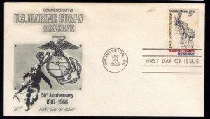 1966 US Sc #1315 FDC US Marine Corps ReserveGood Condition.