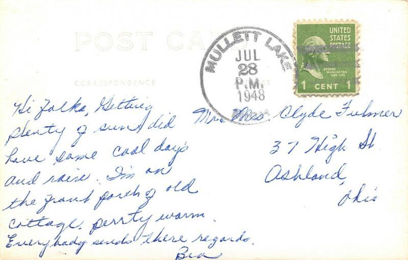 Mullett Lake Michigan~Pine Panel Cabin Room~I'm on Porch Old Cottage~1948 RPPC
