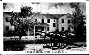 Camp Kilmer New Jersey~Artillery Cannon Across from Headquarters~1940s B&W PC