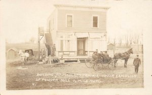 LP88  Pleasant Prairie Wisconsin Postcard RPPC Powder Explosion Bldg 1/2 Mile