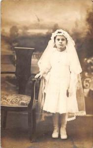 Young  Girl in Communion dress  RPC