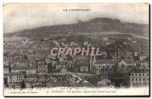 Old Postcard Epernay Vue Generale Eglise Saint Pierre Saint Paul