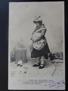 (9) Children play - Girl Carrying A Milk Jug 1903 RP Postcard by Lafyette 110515
