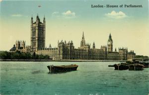 Houses of Parliment old boats River Thames Big Ben London UK England Postcard
