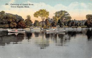 Grand Rapids Michigan~Canoeing on Grand River~1913 Postcard