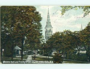 Divided-Back CHURCH & PARK SCENE Little Falls New York NY r8251