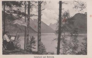 Vetlefjord Balholm Street Artist Painting Fishing Rod Antique Norway Postcard