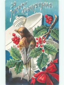 Pre-Linen christmas BEAUTIFUL LARGE BIRD WITH HOLLY AND RIBBON AND BELL W7312