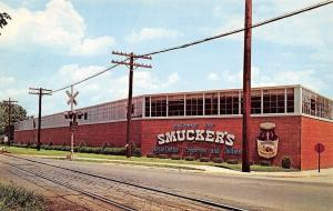 Orrville Ohio~JM Smucker Co Plant~Jelly Factory~Railroad Crossing~1960s Postcard