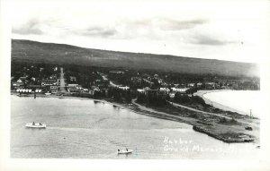 RPPC Postcard; Birdseye View of Harbor, Grand Marais MN Cook County unposted